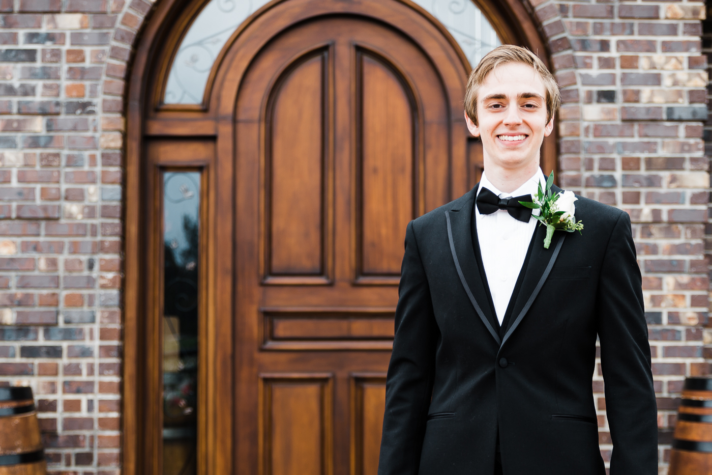 Handsome groom at intimate Abbotsford wedding.