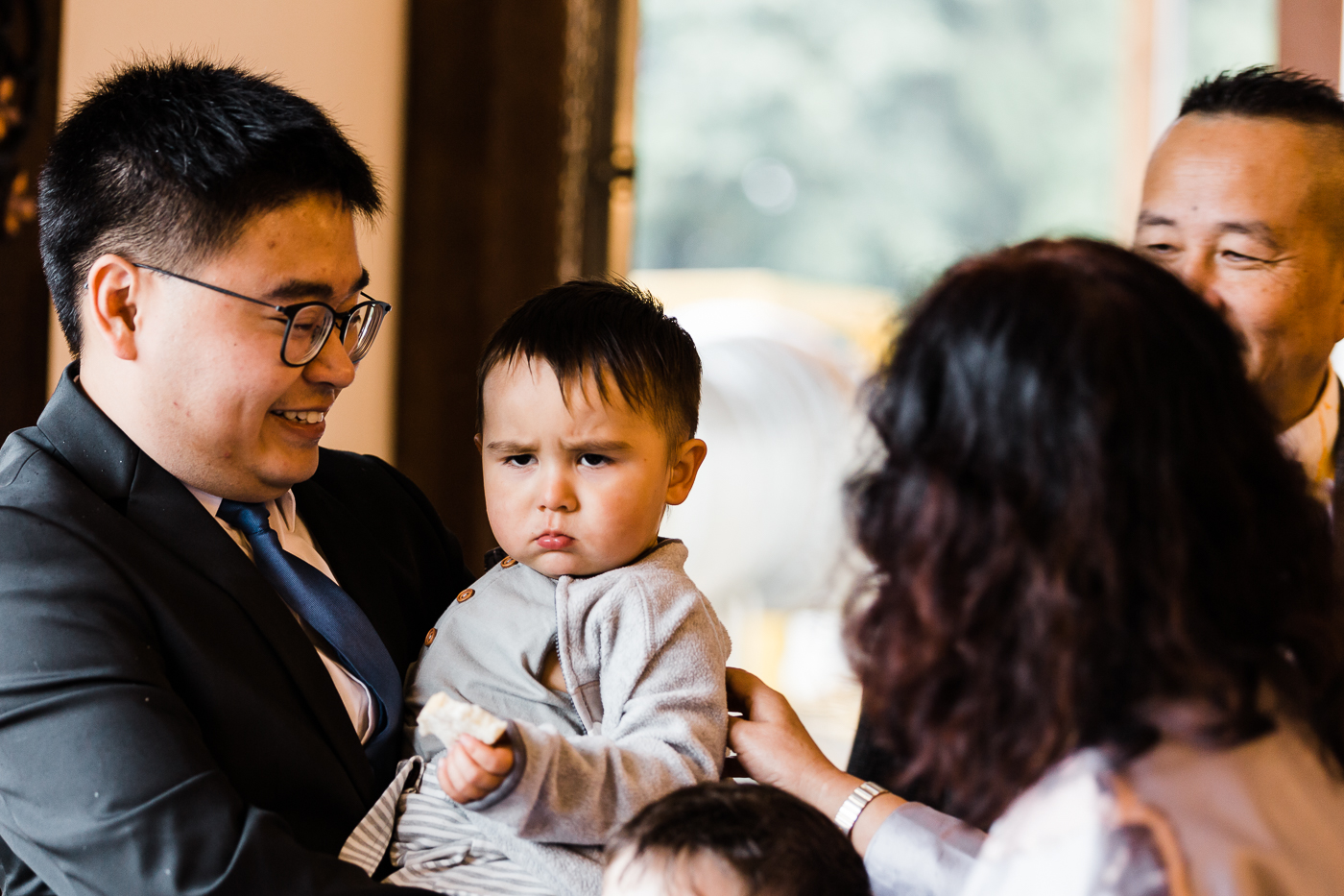 Grumpy kiddo at intimate Abbotsford wedding.