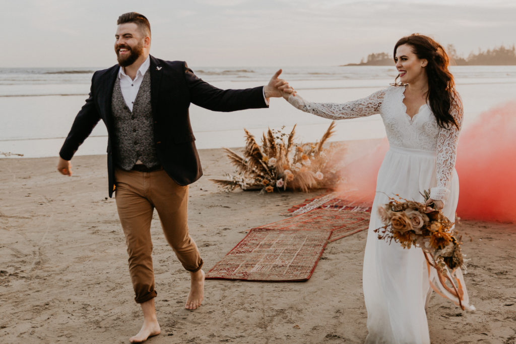 Eloping in Tofino with smoke bombs!