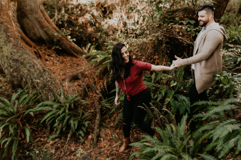 Eloping in Tofino.  Adventure session in the forest.