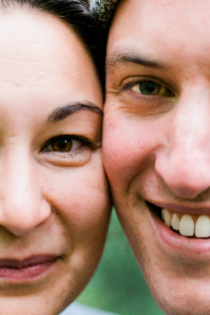 Engagement session, close up of woman and man's face.
